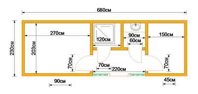 Бытовка дачная 7х2,3м С верандой, двумя комнатами и помещениями под душ и туалет план