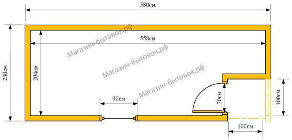 Бытовка дачная 6х2,3м С крылечком 1х1м план