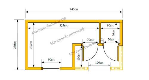 Бытовка дачная 4,5х2,3м с верандой и помещением под хозблок план