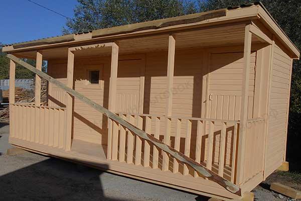 Бытовка дачная 5х2,3м С верандой, помещениями под душ, туалет и хозблок фото