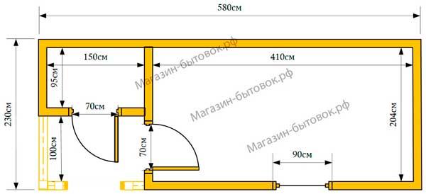 Бытовка дачная 6х2,3м с верандой 1х1,5м и хозблоком план