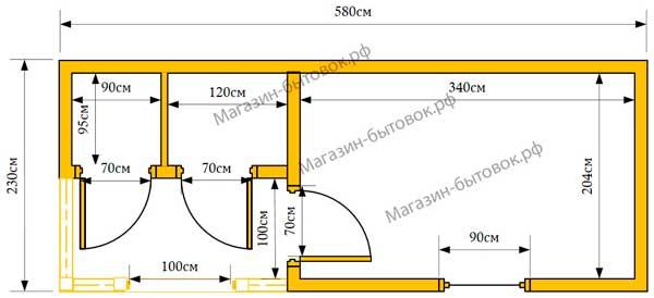 Бытовка дачная 6х2,3м с верандой 1х2м и помещениями для душа и туалета план