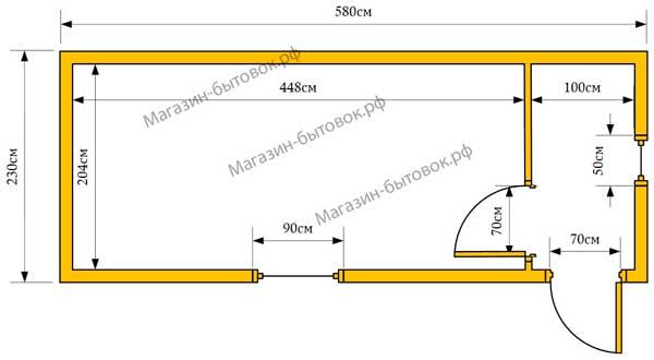 Бытовка дачная 6х2,3м с прихожей план