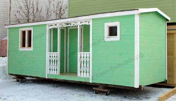 Бытовка дачная 7х2,3м С верандой, двумя комнатами и помещениями под душ и туалет фото