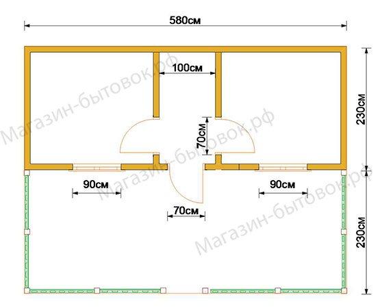 Дачный модульный домик 6х4,6 м (Распашонка с верандой)