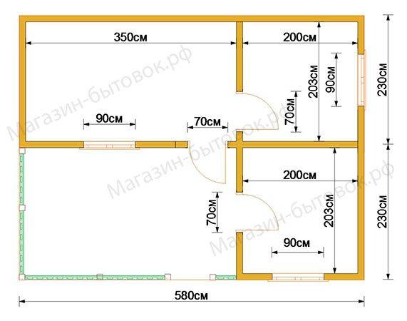 Дачный модульный домик 6х4,6м с верандой
