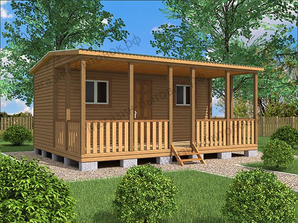 Дачный домик 6х4 с террасой