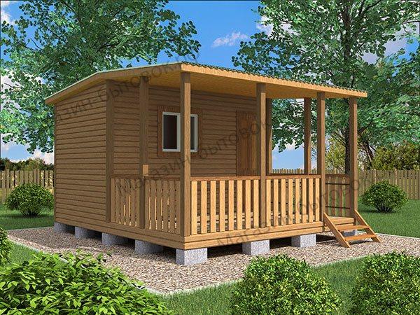 Дачный модульный домик 4х3,8м с верандой.