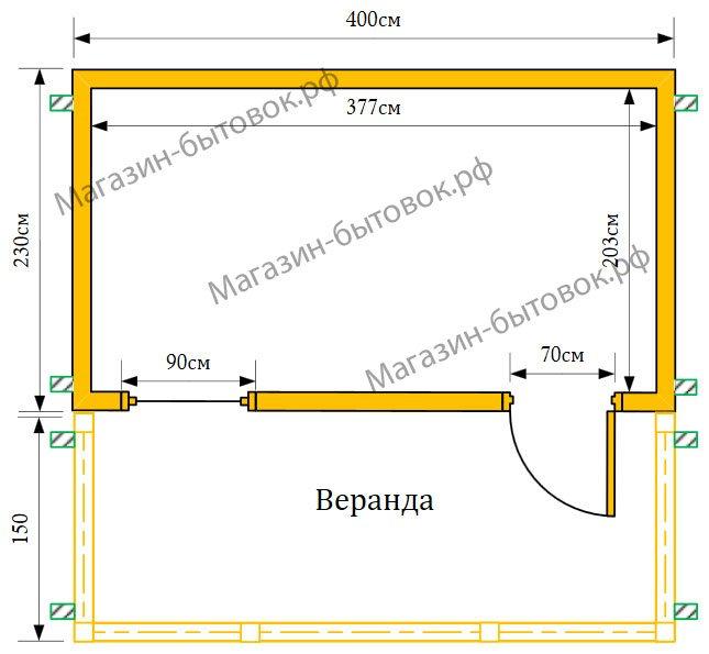 Дачный домик 4х3,8 м с верандой
