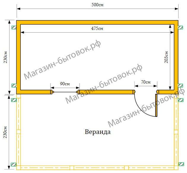 Дачный домик 5х4,6 м с верандой