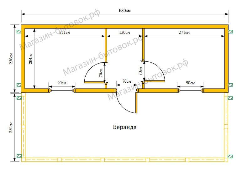 Дачный домик 7х4,6 м (Распашонка с верандой)