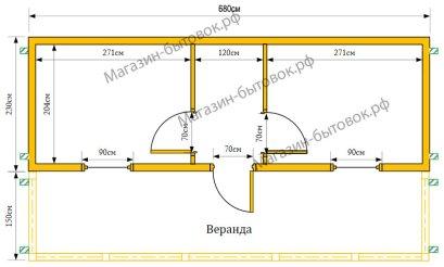 Дачный домик 7х3,8 м (Распашонка с верандой)