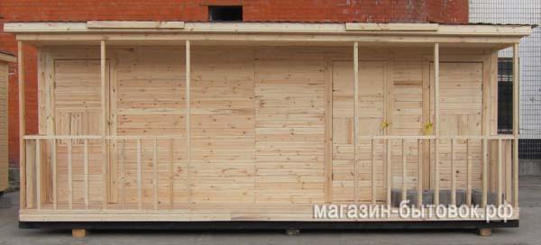 Бытовка дачная 6х2,3м с верандой, помещениями под душ, туалет и хозблок