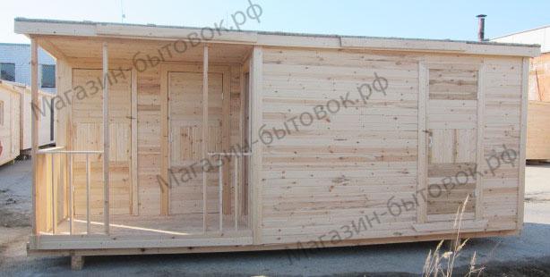Бытовка дачная 6х2,3м с помещениями для душа и туалета.