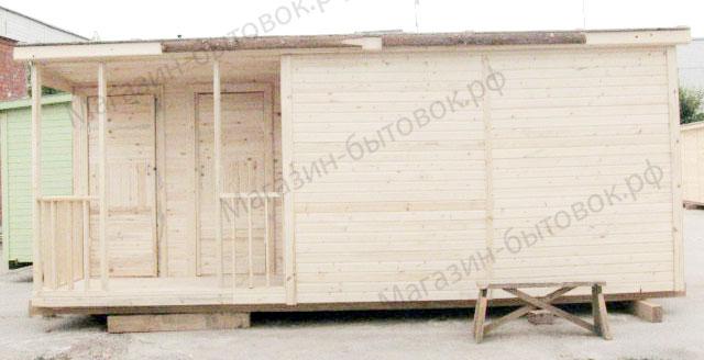Бытовка дачная 6 х 2,3 м с верандой и помещениями для душа и туалета