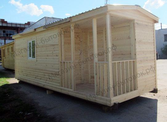 Бытовка дачная 7х2,3м с верандой и помещениями для душа и туалета