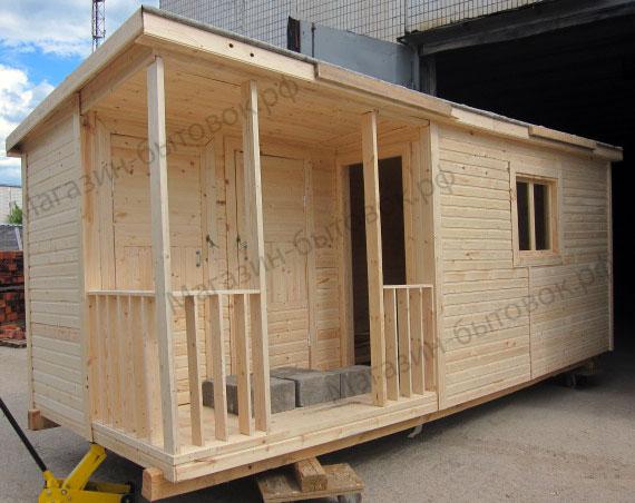 Бытовка дачная 6х2,3м с верандой и помещениями для душа и туалета
