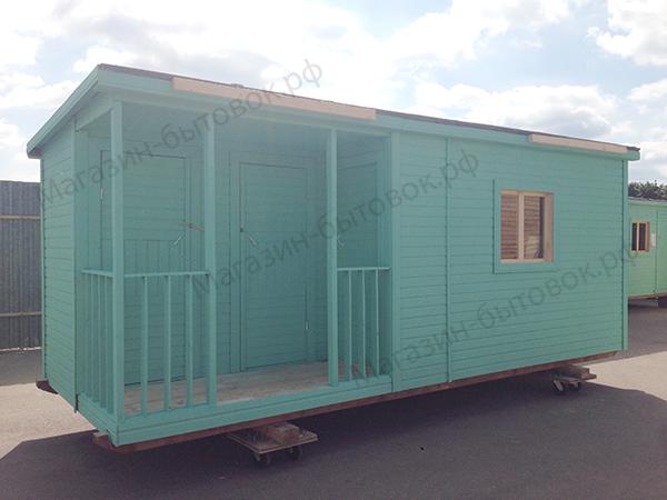 Бытовка дачная 6х2,3м с верандой и помещениями под душ и туалет