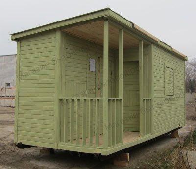Сосновка. Бытовка дачная с верандой и помещениями для душа и туалета 6х2,3м.